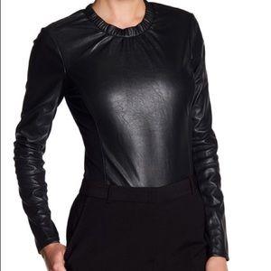 BCBG faux leather bodysuit size M